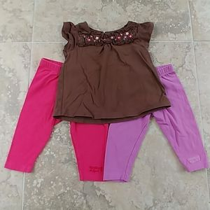 Oshkosh top and 2 pants set 3m